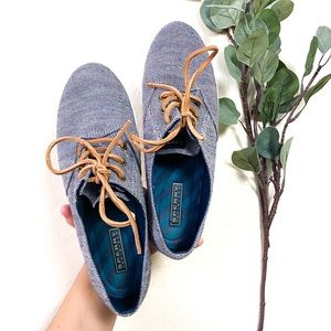 •Sperry Topsider Blue w/Color Accent Brwn Lace 9.5